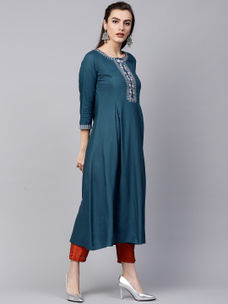 Varanga blue embrodiered A line kurta  VAR218611