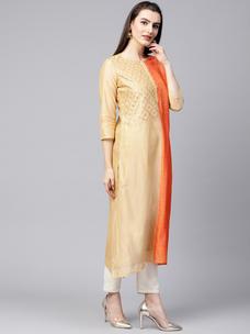 Varanga beige embrodiered A line chanderi kurta  VAR218634