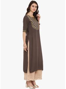 Varanga brown embroidered straight kurta  VAR218641