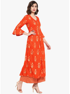 Varanga orange gold flared Kurta  VAR218651