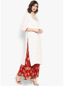 Varanga off white embroidered straight kurta  VAR218660
