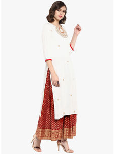 Varanga off white embroidered straight kurta with red gold skirt VAR218660_PZ218649