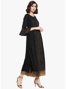 Varanga black gold flared Kurta  VAR218666