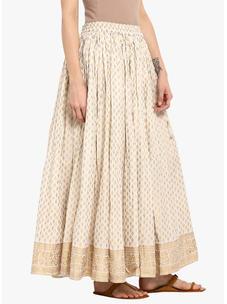 Varanga ivory  & god printed skirt VAR218692