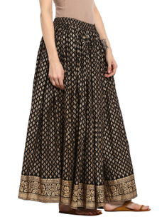 Varanga black  & god printed skirt VAR218693