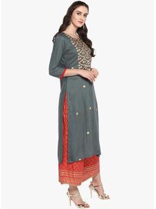 Varanga grey embroidered straight kurta VAR218694