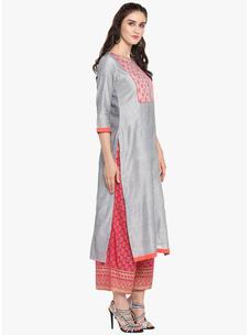 Varanga grey embrodiered straight chanderi kurta VAR218698