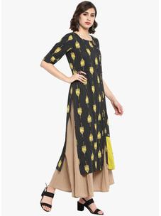Varanga black embroidered straight printed kurta VAR218702