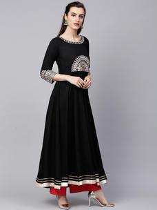 Varanga black embrodiered A line kurta  VAR218718