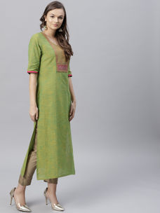 Varanga green south cottom straight kurta  VAR218723