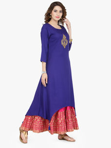 Varanga Blue Viscose Gold Zari Embroidery Kurta With Skirt