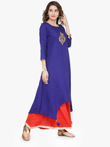Varanga Blue Viscose Gold Zari Embroidery Kurta With Palazzo