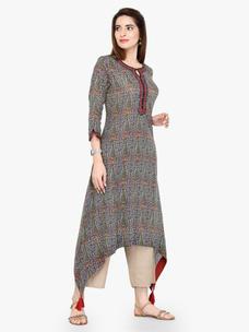 Varanga Multi Cotton Blend Printed Kurta