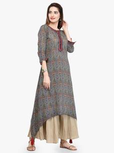 Varanga Multi Cotton Blend Printed Kurta With Palazzo