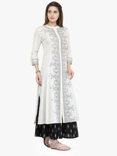 Varanga White Cotton Blend Printed Kurta
