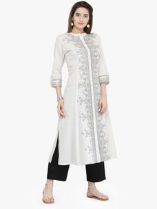 Varanga White Cotton Blend Printed Kurta With Pant
