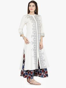 Varanga White Cotton Blend Printed Kurta With Palazzo