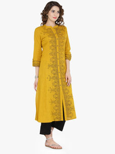 Varanga Mustard Cotton Blend Printed Kurta