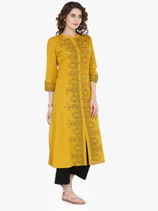 Varanga Mustard Cotton Blend Printed Kurta With Pant