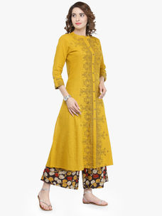 Varanga Mustard Cotton Blend Printed Kurta With Palazzo