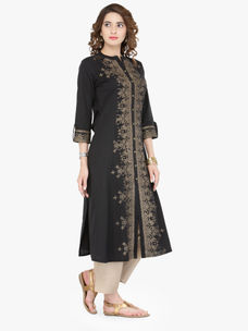 Varanga Black Cotton Blend Printed Kurta