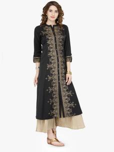 Varanga Black Cotton Blend Printed Kurta With Palazzo