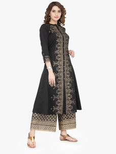 Varanga Black Cotton Blend Printed Kurta With Palazzo