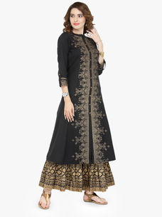 Varanga black Cotton Blend Printed Kurta With Skirt