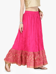 Varanga Pink Pure Cotton Gold Skirts