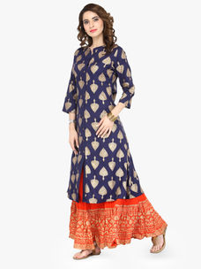 Varanga Blue Viscose Gold Print Kurta With Skirt
