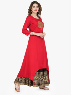 Varanga Red Viscose Gold Zari Embroidery Kurta With Skirt