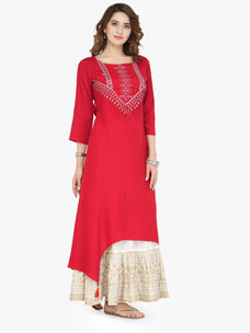 Varanga Red Viscose Zari Embroidery Kurta With Skirt