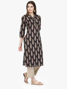 Varanga Black Pure Cotton Printed Kurta