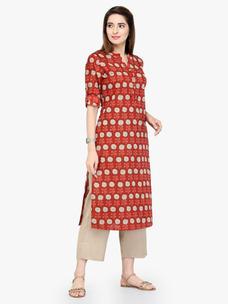Varanga Red Pure Cotton Printed Kurta