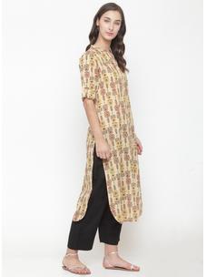Varanga beige printed Kurta with black solid pants