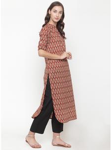 Varanga rust printed Kurta with black solid pants