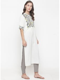 Varanga ivory Kurta with printed yoke