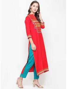Varanga red embroidered kurta