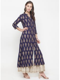 Varanga navy gold printed A-line Kurta with ivory gold wrinkled skirt