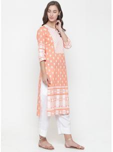 Varanga peach khadi printed Kurta with white solid pants