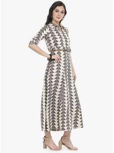 Varanga Off Whitee Printed Dress