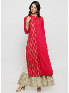 Varanga Fushia Gold Printed Kurta With Ivory Gold Skirt