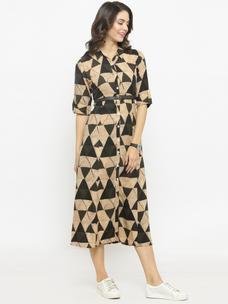 Varanga Geometric Print Shirt Dress