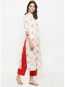 Varanga White Printed Kurta With Red Solid Pants