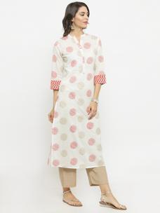 Varanga White Printed Kurta With Beige Solid Pants