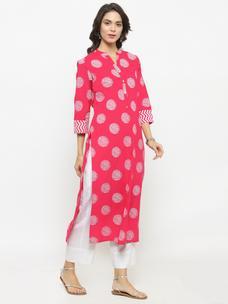 Varanga Pink Printed Kurta With White Solid Pants