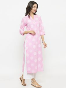 Varanga Light Pink Printed Kurta