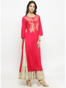 Varanga Fushia Gold Printed Kurta With Ivory Skirt