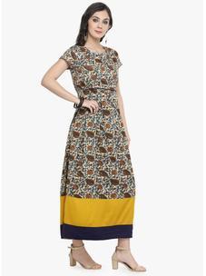 Varanga Off Whitee Printed Dress