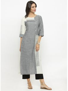 Varanga Grey & White Solid Kurta